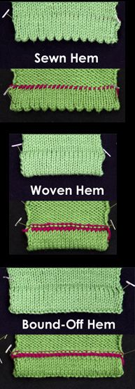 3 ways to make a hem on a top-down knitted sweater - Sewn Hem, Woven Hem, and Bound-Off Hem. #knitting #video