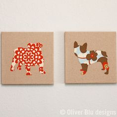 Dog silhouette appliqued wall art