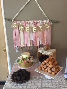 Shabby chic baby shower dessert table and cake