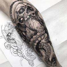 Octopus skull Muito obrigado Luciano Next week i will open my bookings for New Y. - Octopus skull Muito obrigado Luciano Next week i will open my bookings for New York, Los Angeles an - Octopus Tattoo Sleeve, Octopus Tattoo Design, Octopus Tattoos, Sleeve Tattoos, Tattoo Designs, Black Tattoos, Body Art Tattoos, Small Tattoos, Tattoos For Guys