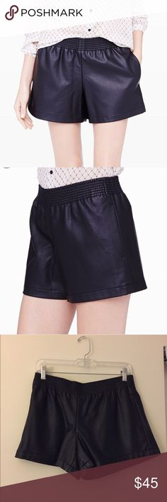 """Club Monaco leather shorts Size 4 - can fit between 4/6 waist is elastic and super stretchy. Faux leather. Black and pristine condition. No threading or holes.  poly PLEASE READ: Instead of asking """"lowest?"""" Submit a offer. I don't trade & no offsite transactions. Posh only. No Holds. Club Monaco Shorts Skorts"""