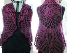 Crochet Circle Vest Bohemian Vest Pineapple Vest Crochet