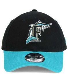 New Era Florida Marlins Coop Core Classic 2Tone 9TWENTY Strapback Cap -  Black Adjustable fc1ce7f9a