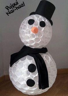 Navidad manualidades. Con vasos de plásticos, se puede hacer un creativo muñeco de nieve, lo podemos realizar entre toda la clase y así decorar el aula.