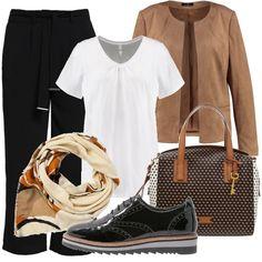 Ecco un look perfetto per mettere in risalto la bellezza di una donna formosa. Pantaloni dalla linea morbida abbinati a una semplice t-shirt off-white e a una giacca color cammello. Gli accessori: un paio di stringate in vernice lucida con suola bicolor, una borsa a bauletto e un foulard che richiama le tonalità dell'intero outfit.