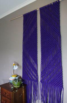 Macrame Wall Hanging Mirror In Purple by Weaverbirdmacrame