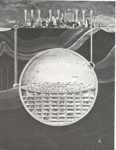27 Cutaway Drawings That Show All the Secrets of Buildings. Shown: Architecture and City Planner Oscar Newman's plan of a massive underground sphere beneath Manhattan, NYC Baroque Architecture, Futuristic Architecture, Architecture Collage, Minimalist Architecture, Chinese Architecture, Futuristic Design, Architecture Visualization, Architecture Drawings, Architecture Illustrations