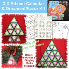 "Here is a versatile kit that you can use to make an Advent calendar, 12 days of Christmas calendar !  You get a printable template with instructions, a printable sheet with two boxes laid out on a 8 1/2""x11"" document so you can print it directly on your your cardstock one sheet of printable numbers sized to fit a 1 1/2 circle punch, one sheet of printable gift tags and blanks if you want to make place settings."