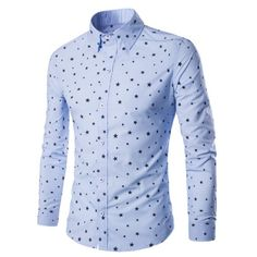 Stars Printed Turn-Down Collar Long Sleeve Men\'s Shirt #shoes, #jewelry, #women, #men, #hats, #watches