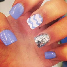 paint all the nails then get tape and cut it into the wave shapes, after that paint the other nail with glitter.