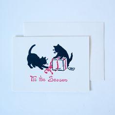 Antique Letterpress Tis the Season Wrap Cats Holiday Card