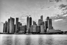 poster Singapore Skyline in Black & White