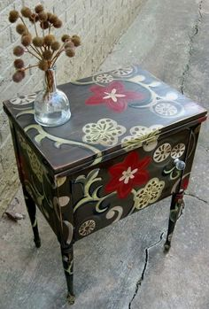 mobilya boyama ornekleri dolap sifonyer komidin masa kapi geometrik cicekli etnik desenler (14)