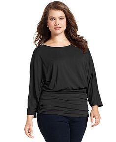 Style Plus Size Top, Long-Sleeve Blouson Waist Ruched - Plus Size Tops - Plus Sizes - Macy's