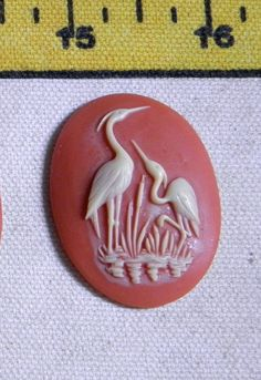 More saved-from-landfill cuties!  Bird Cameo  4 Vintage Oval 30x40 MM Resin by bansheehouseofmake, $10.00