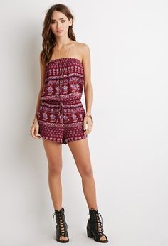 Forever21 Floral Print Strapless Romper Found on my new favorite app Dote Shopping #DoteApp #Shopping