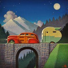 "Art Deco Illustration ""Wings"" by Robert LaDuke Vintage Travel Trailers, Vintage Travel Posters, Vintage Caravans, Vintage Campers, Retro Art, Vintage Art, Illustrations, Illustration Art, Camping Vintage"