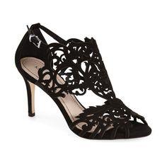 Women's Klub Nico 'Marcela' Laser Cutout Sandal (€200) ❤ liked on Polyvore featuring shoes, sandals, black nubuck leather, black stilettos, black cut out shoes, heels stilettos, cut out shoes and black shoes