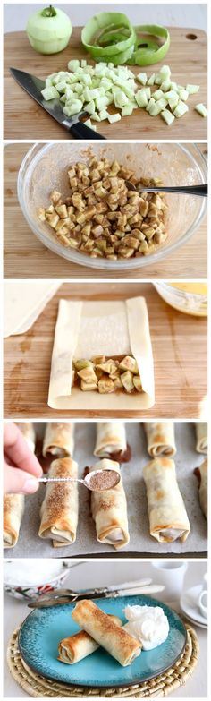Baked Apple Pie Egg Rolls... instead of egg roll wrappers, use rolled out pie crust!
