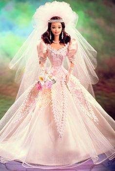 Blushing Orchid Bride™ Barbie® Doll.  1997.  Porcelain Doll.