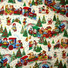 christmas fabric vintage toyland retro baby by goldhilldrygoods - Vintage Christmas Fabric