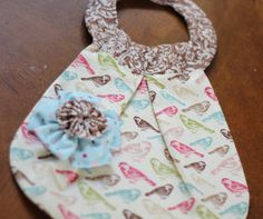 Couture Baby Girl Bib - Fancy First Birthday - Sweet Birds - Removable Flower Brooch/Hair Clip. $20.00, via Etsy.