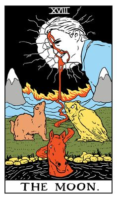 """The Moon Twin Peaks Tarot Card by Benjamin Mackey. """"Yet there are those who open many eyes, eyes are the mirror of the soul"""""""