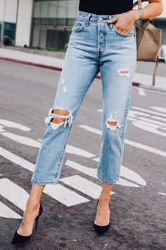 9c95772a25a Woman Wearing Levis Wedgie Straight Leg Ripped Jeans Black Pumps Fashion  Jackson San Diego Fashion Blogger Street Style