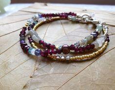 Triple Strand Gemstone Bracelet with Garnet, Aquamarine, Labradorite and More