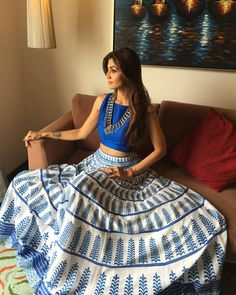 white blue crep and printed printed unstitched lehenga choli - gutam r - 1568977 Indian Skirt, Indian Dresses, Indian Outfits, Indian Clothes, Lehenga Choli Designs, Bollywood Lehenga, Bollywood Fashion, Indian Attire, Indian Wear