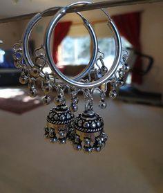 Jaipur hoop jhumkas  Sterling silver Hoop Jhumkas by jhumkas...Wish I had the money to buy this !! But I can always make my eyes happy :)