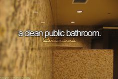 A clean public bathroom... The best thing ever!! But I still use my foot to flush.. No matter how high or hard it may be to reach the handle!
