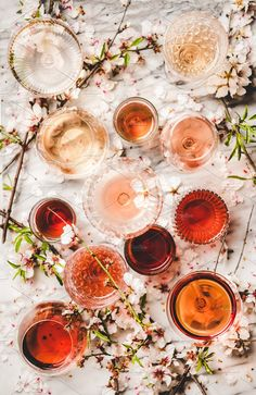 Various shades of rose wine over