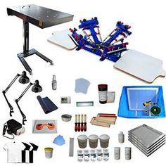 afcc8c3dfc0 4 Color 2 Station Screen Printing Full Starter Kit Silk Screen Printing
