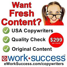 Are you missing opportunities to fuel your marketing and grow your business?  Grow Your Business With eWS Copywriting Services!  We all know Google favors websites with quality content posted each week. Most business owners don't have time to research write review edit and post articles on their website and social media channels. Let eWS do the work so you can focus on growing your business.  eWorkSuccess copywriters can help! We make it easy with our 7-Day free trial.  Questions? Contact…