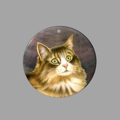 HAND PAINTED CAT SHELL CREATIVE NECKLACE PENDANT ZP30 00903 #ZL #PENDANT