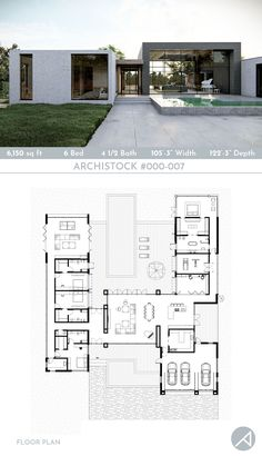 Modern Pool House, Modern Small House Design, Modern House Floor Plans, Pool House Plans, Sims House Plans, Modern Minimalist House, House Layout Plans, Home Design Floor Plans, House Plans One Story
