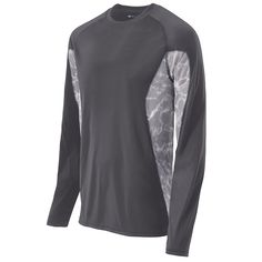 ADULT GREY LONG SLEEVE SPORTS TIDAL SHIRT - Add your team logo, fully customizable at  Unitedteamsports.com. More colors available.