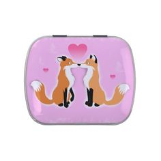 Valentines Day Foxes Jelly Belly Candy Tins #fox #love #valentine #hearts #animals