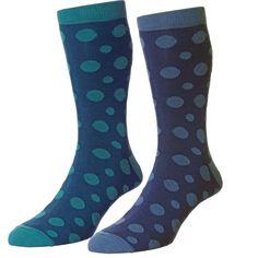 5b5d6379e69 HJ Hall Teal   Denim Blue Spotted Men s Socks - 2 Pair Multi Pack from Ties