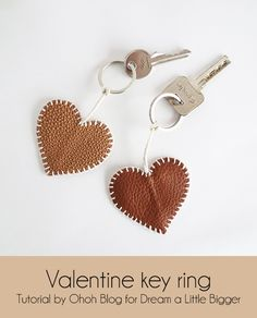 Here is a sweet idea for valentine's day, you can make heart key rings for your lover and friends.