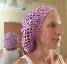 Crochet Lacy Hair Net Snood - Free Pattern   I wanted something to hold my long, wet, curly hair in place while it dries. I came up with...