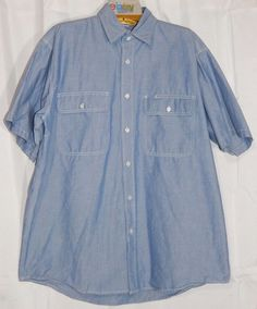 Big Smith Blue Chambray Denim Button Down Western Work SS Shirt - Men's XLT…