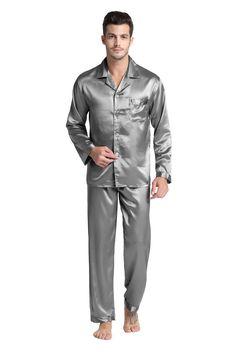 Tony&Candice Men's Stain Silk Pajama Set Men Pajamas Silk Sleepwear Me - sheheonline Mens Sleepwear, Silk Sleepwear, Nightwear, Mens Silk Pajamas, Satin Pajamas, Men's Pajamas, Lingerie For Men, Well Dressed Men, Pajama Set