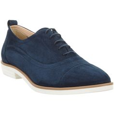 John Lewis Flo Lace Up Brogues , Navy Suede featuring polyvore, women's fashion, shoes, oxfords, navy suede, navy blue flats, lace up oxfords, lace up flats, navy blue loafers and suede loafers