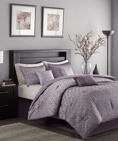 Look at this Purple Jacquard Comforter Set on #zulily today!