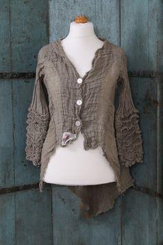 Olivia May jacket with ruffled sleeves