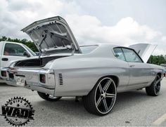 1970 chevelle silver and grey with iroc wheels concave