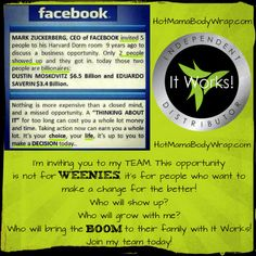 Are you interested? See if you qualify to get paid to wrap when you click the pin!  http://hotmamabodywrap.com/become-an-it-works-distributor