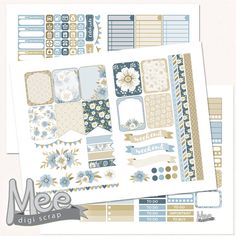 Erin Condren Planner stickers printableShabby blue by MeeDigiScrap #plannerstickers #shabbychic #printables #plannerprintable #stickers #flowers #planner